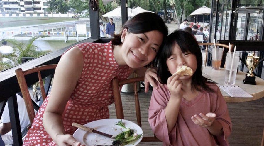 Jade & Marion having dinner at the Royal Selangor Polo Club in Kuala Lumpur