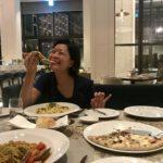 Enjoying Milanese food in La Scala