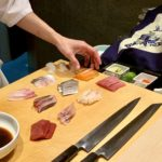 Preparing for the nigiri course of the Yume menu at Sushi Ayumu