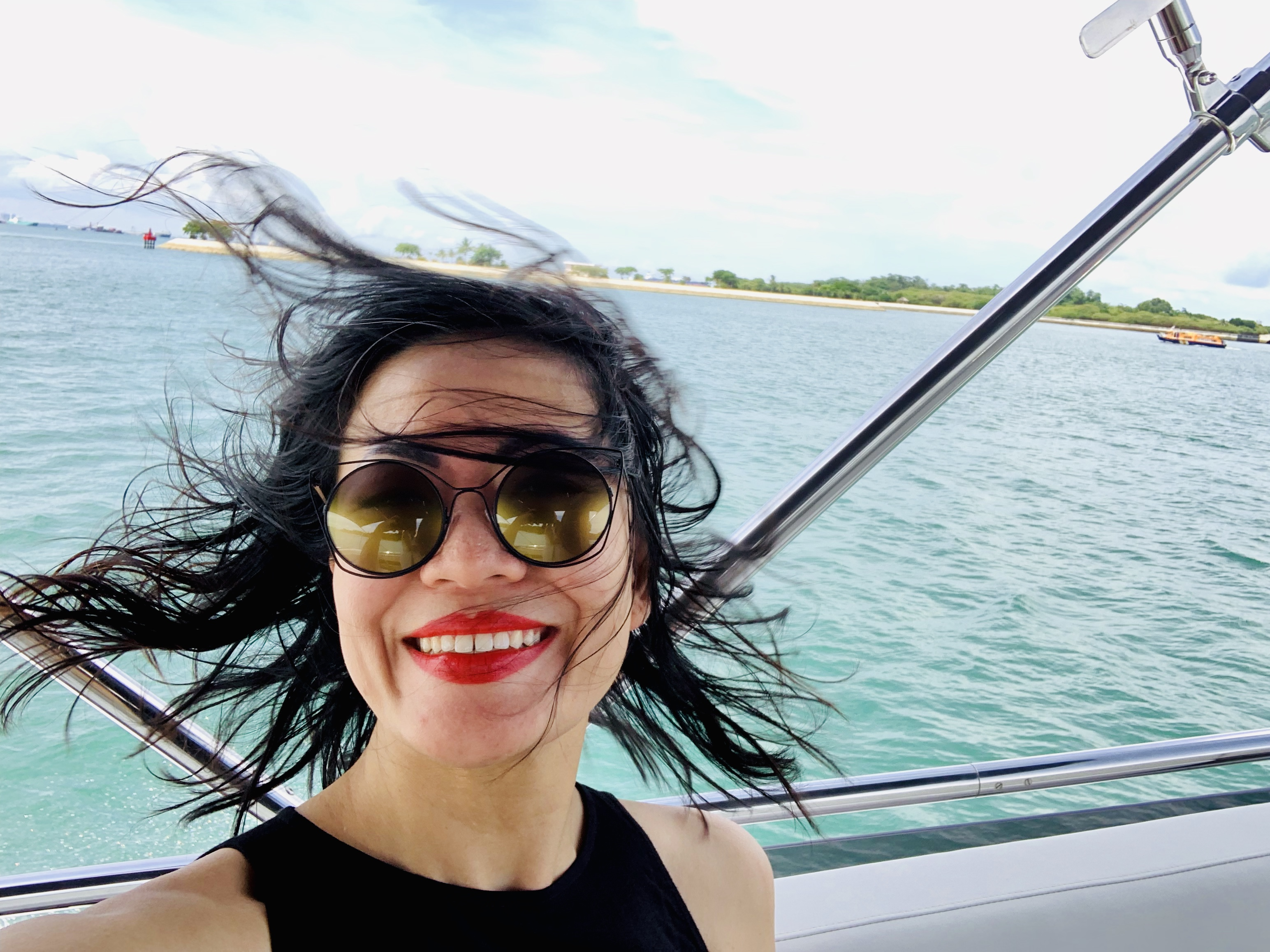 Wind in my hair on the Princess Yacht