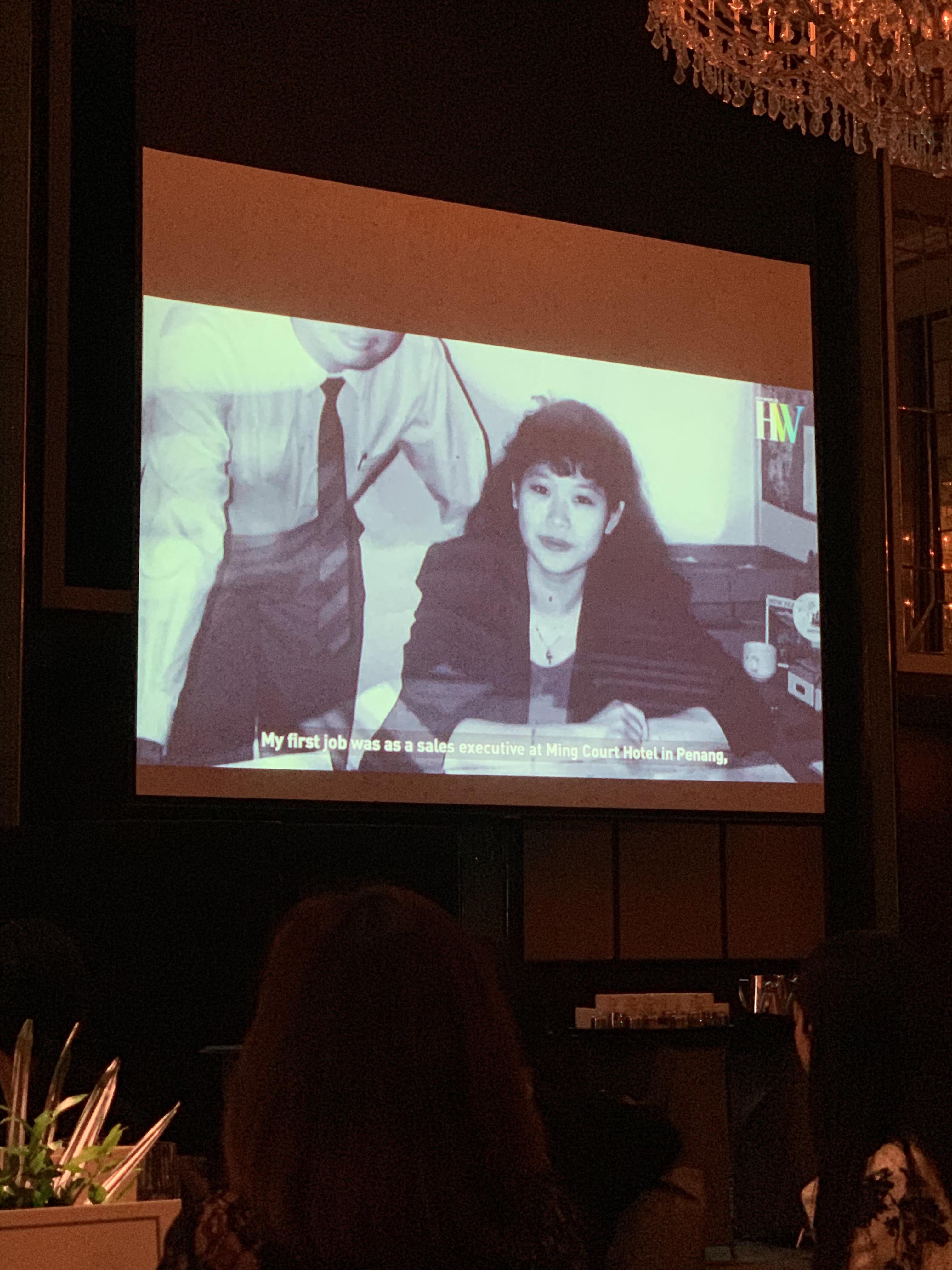 Clip of Susan Chong shown at the Her World gala.
