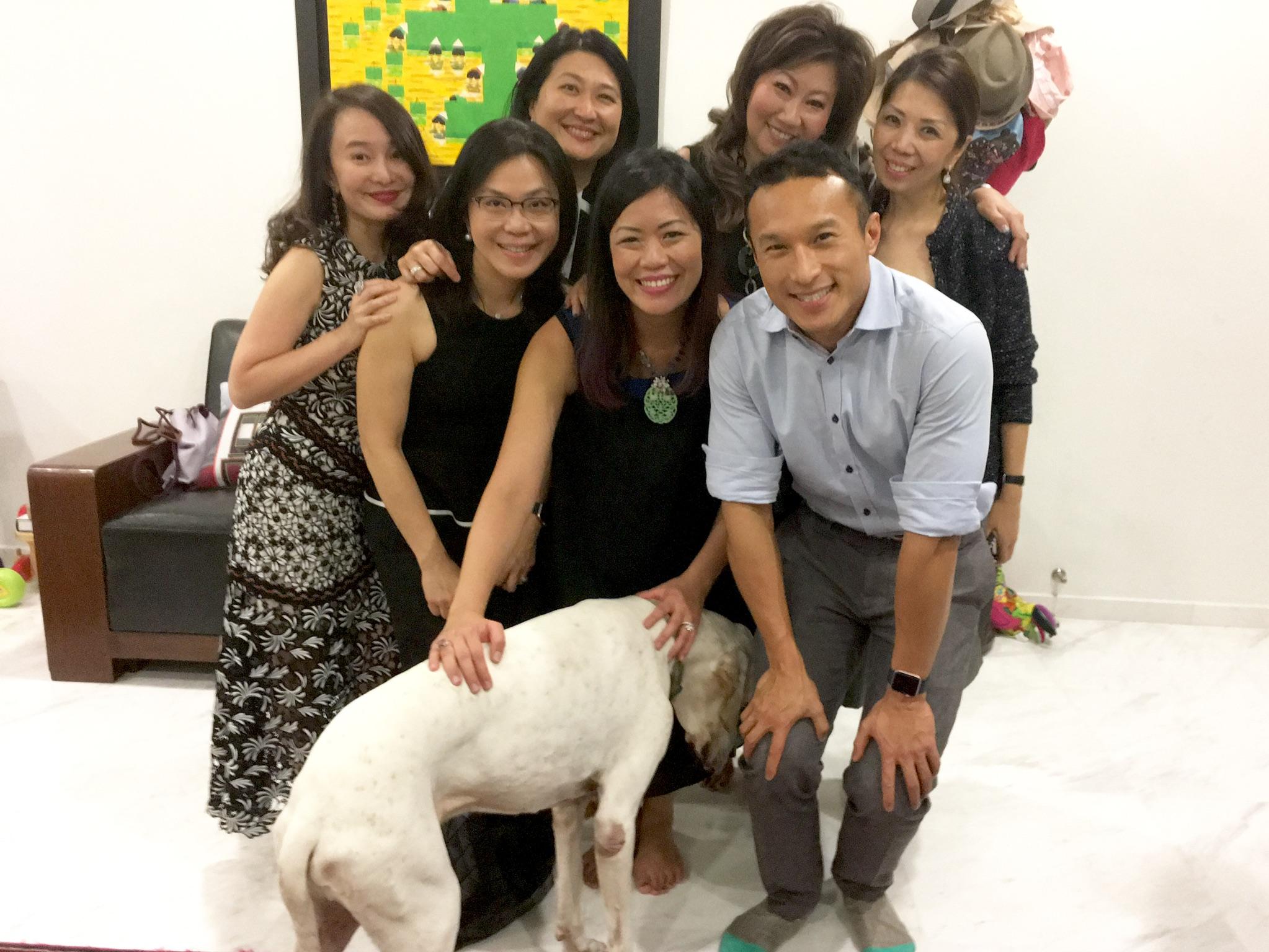 Joy, Ann, Junie, Monica, Adrian & Kitch with Dog Dylan