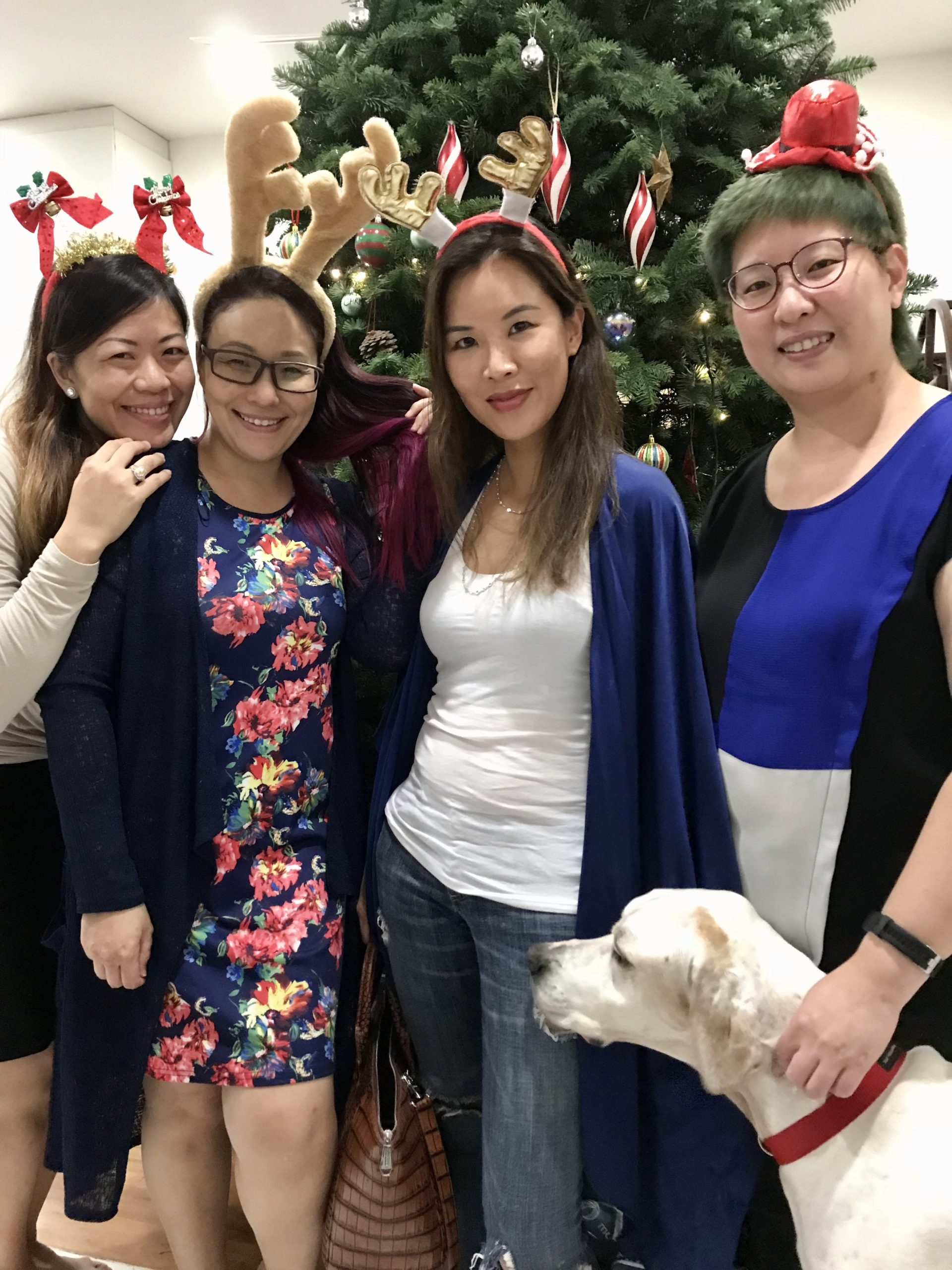 Hui Ming, Crystal & Grace with Dog Dylan