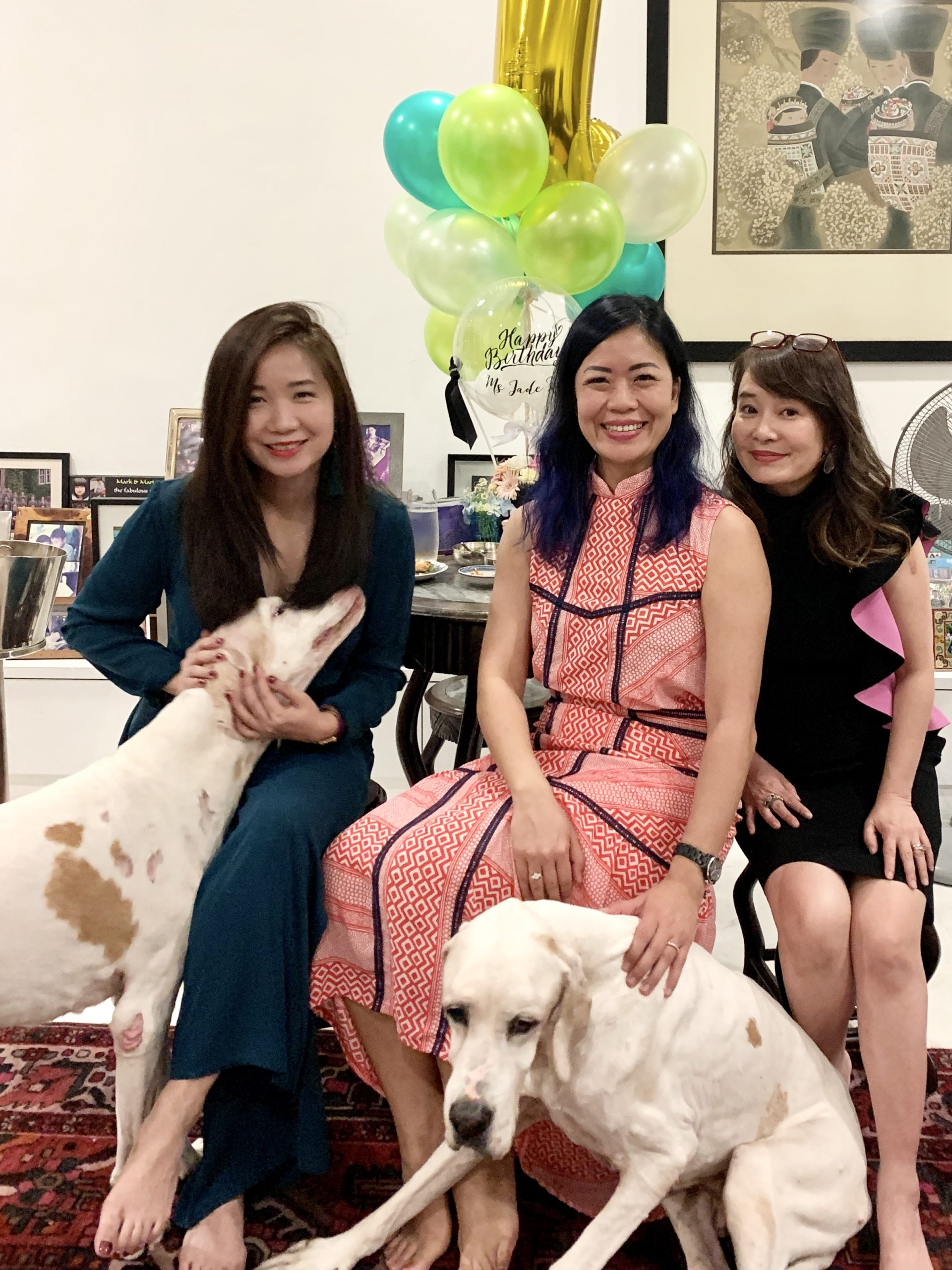 Eu-Lin and Joy with Dog Dylan