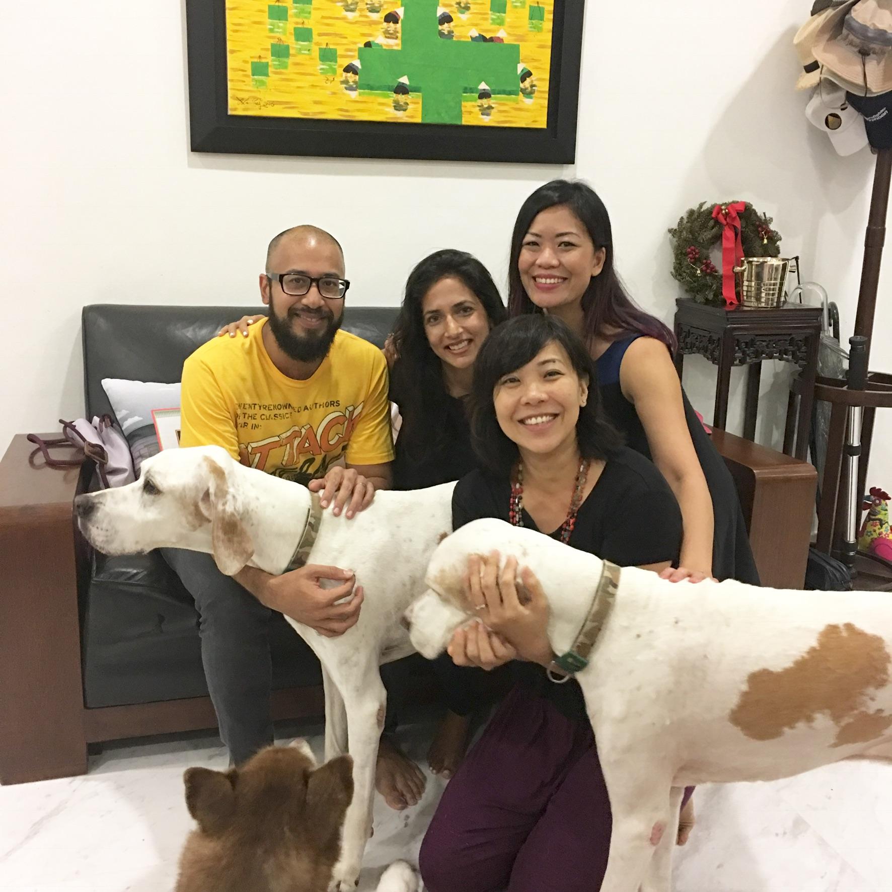 Marc, Ambika & Carolyn with Dog Dylan